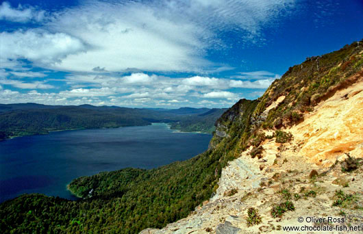 Panoramic view of Lake Waikaremoana in Te Urewera National Park
