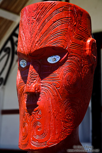 Wooden sculpture at a Maori meeting house near Whanganui