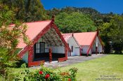 Travel photography:Marae with tribal meeting houses near Whanganui, New Zealand