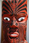 Travel photography:Wooden sculpture on a Marae near Whanganui, New Zealand