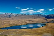 Travel photography:Landscape with Lake Alexandrina and the Southern Alps in MacKenzie Country, New Zealand