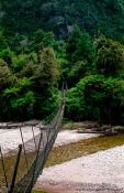 Travel photography:3-wire bridge across a stream on the Heaphy Track, New Zealand