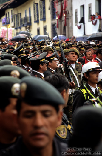 Military participation at the procession of el Señor de los Temblores (Lord of the earthquakes) in Cusco