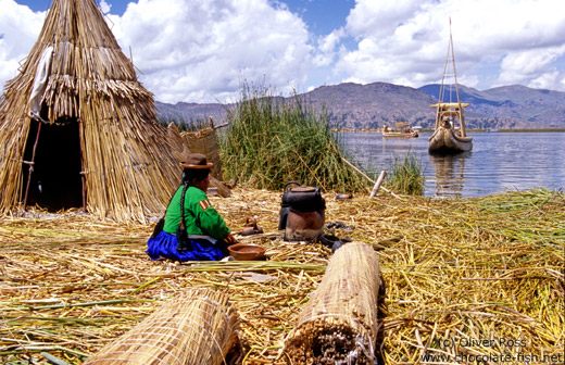 Uros woman cooking