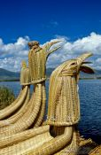 Travel photography:Decorations at the prows of the Uros boats, Peru
