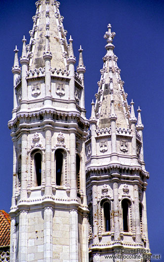 Towers of the Mosteiro dos Jeronimos in Lisbon