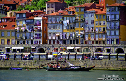 Houses along the Douro River in Porto`s Ribeira district
