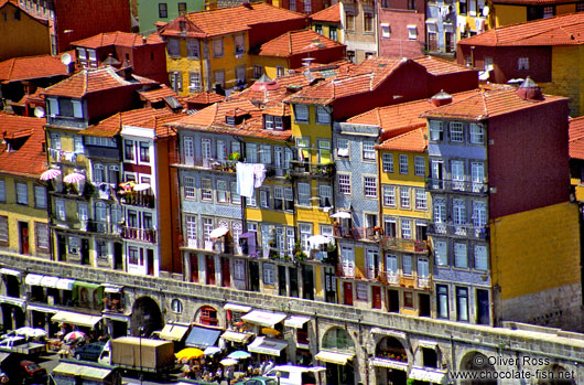 Houses along the River Douro in Porto`s Ribeira District
