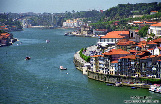 Porto and the River Douro with the Arrábida bridge in the background