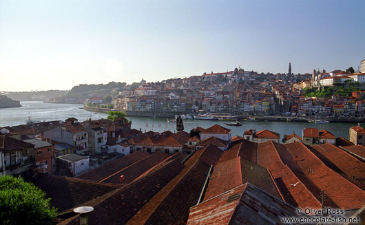 Port wine cellars with River Douro in Vila Nova de Gaia