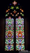 Travel photography:Coloured window inside the Mosteiro da Batalha, Portugal