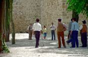 "Travel photography:Men passing their time playing ""jogo de malha"", Portugal"