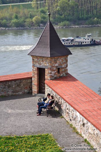Spring at Bratislava castle with Danube river in the background