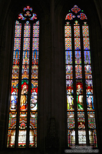 Painted windows in St. Martin´s cathedral in Bratislava