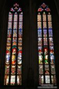 Travel photography:Painted windows in St. Martin´s cathedral in Bratislava, Slovakia