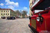 Travel photography:Tourist bus in Bratislava´s city centre , Slovakia