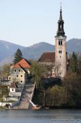 Travel photography:Island with church and staircase within Blejsko jezero (Bled lake), Slovenia