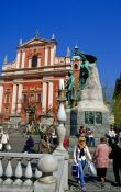 Travel photography:The Franciscan church on Prešeren Square in Ljubljana, Slovenia