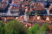 Travel photography:Aerial view of the old town in Ljubljana, Slovenia