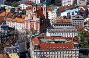 Travel photography:Aerial view of the Prešeren Square in Ljubljana, Slovenia