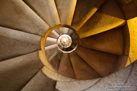 Barcelona Sagrada Familia spiral staircase inside one of the towers