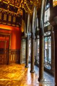 Travel photography:Hall of Intimates and bay window room in Palau Güell, Spain
