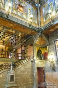 Travel photography:Central hall with staircase in Palau Güell, Spain