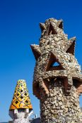 Travel photography:Sculpted chimneys on the roof terrace of Palau Güell, Spain