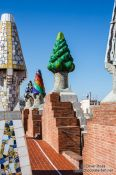 Travel photography:Roof terrace in Palau Güell with sculpted chimneys, Spain