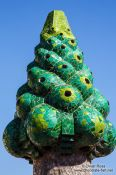 Travel photography:Sculpted chimney on top of Palau Güell, Spain