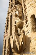 Travel photography:Sculpture on the Sagrada Familia Passion Facade, Spain