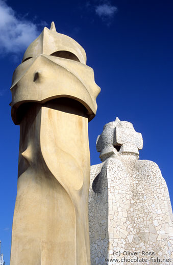 Sculptures on top of Casa Pedrera in Barcelona