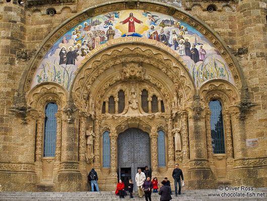 Entrance portal at Barcelona´s Sagrat Cor church atop the Tibidabo mountain