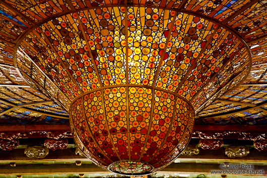 Glass cupola of the Palau de la Musica Catalana