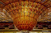 Travel photography:Glass cupola of the Palau de la Musica Catalana, Spain