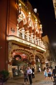 Travel photography:Facade of the Palau de la Musica Catalana at night, Spain