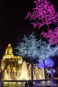 Travel photography:Trees with Christmas decorations at Plaça Catalunya in Barcelona, Spain