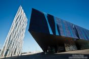 Travel photography:Contemporary architecture near the Barcelona Forum with the Natural History Museum (Museu Blau), Spain