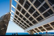 Travel photography:Large array of solar panels in the Barcelona Forum, Spain