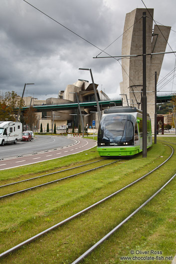 Bilbao tram with the Guggenheim museum in the background