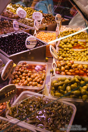 Olives for sale at the Bilbao food market