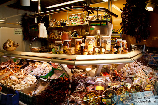 Delicatessen stall at the Bilbao food market