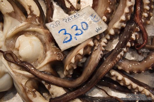 Octopus for sale at the Bilbao food market