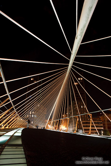 Bilbao Zubizuri Bridge by night
