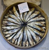 Travel photography:Smoked fish for sale in Bilbao, Spain