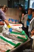 Travel photography:Fish vendor at the food market in Bilbao, Spain
