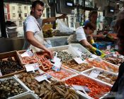 Travel photography:Sea food for sale at the Bilbao food market, Spain