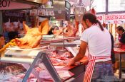 Travel photography:Meat stall at the Bilbao food market, Spain