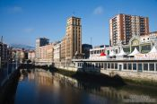 Travel photography:Houses along the Nervión river in Bilbao, Spain