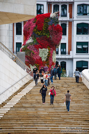 The Jeff Koons Dog sculpture outside the Bilbao Guggenheim Museum